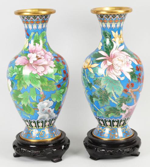 Pair of Jingfa Cloisonne Vases, Blue w/Flowers
