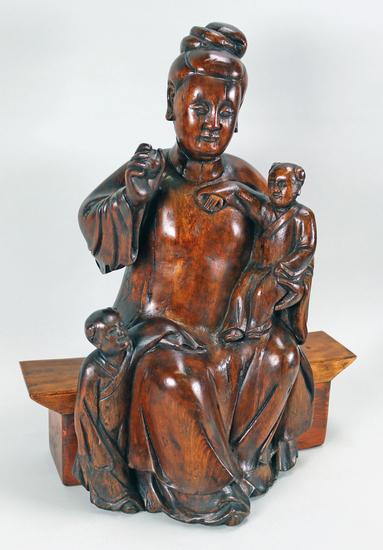 Large Vintage Hand Carved Asian Sculpture