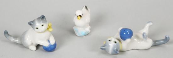 Early Miniature Wade Cats w/Blue Ball (1930's) & Duck Porcelain Figurines