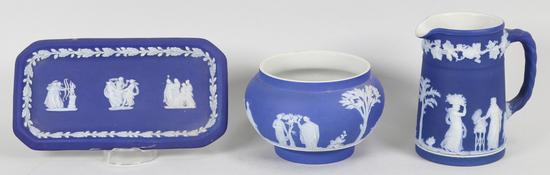 3 Pcs of Wedgwood, Lavender Grape Creamer, Trinket Dish & Small Vase/Bowl