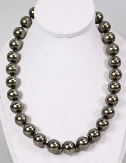 Masami Black Pearl Necklace w/14K Gold Clasp