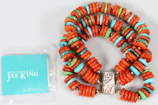 Jay King Turquoise & Coral 3 Strand Bracelet w/Sterling Magnetic Clasp