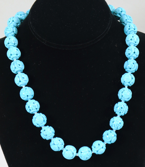 Chinese Style Carved Turquoise Beaded Necklace, Knotted