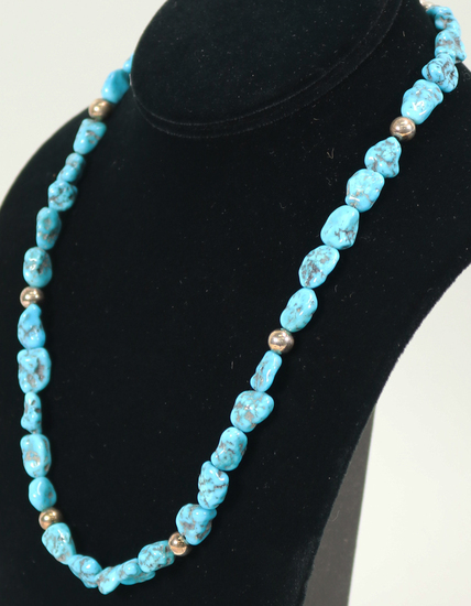 Jay King Desert Rose Trading Turquoise & Sterling Bead Necklace