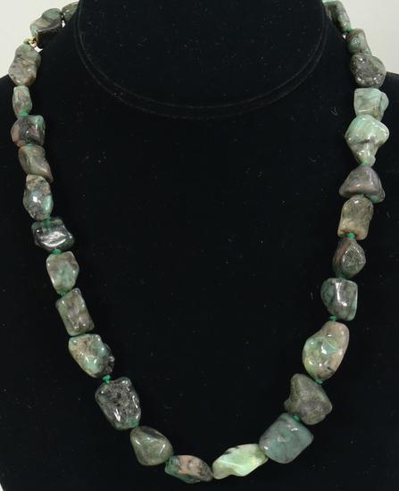Green Chunky Gemstone Necklace w/14K Clasp
