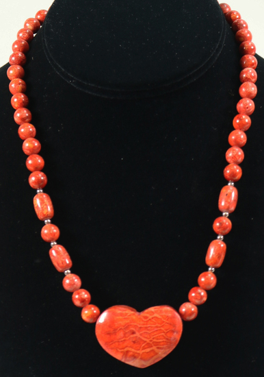 Coral Heart Stone Pendant & Beaded Necklace w/.925 Clasp (Adjustable)