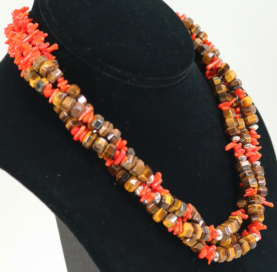 Tigers Eye & Coral Necklace, Marked R.B. Sterling