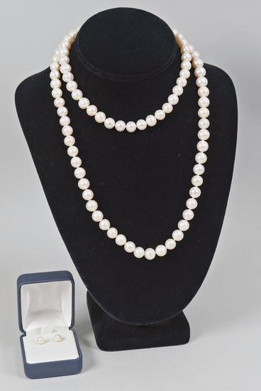 Pearl Necklace & Earrings w/14K Clasp
