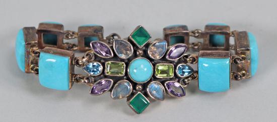 Butler Turquoise & Bead Bracelet, Marked NB .925 India