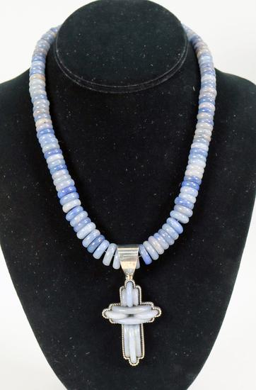 DRT Jay King Grey/Blue Gemstone (Chalcedony?) Necklace & Cross Pendant