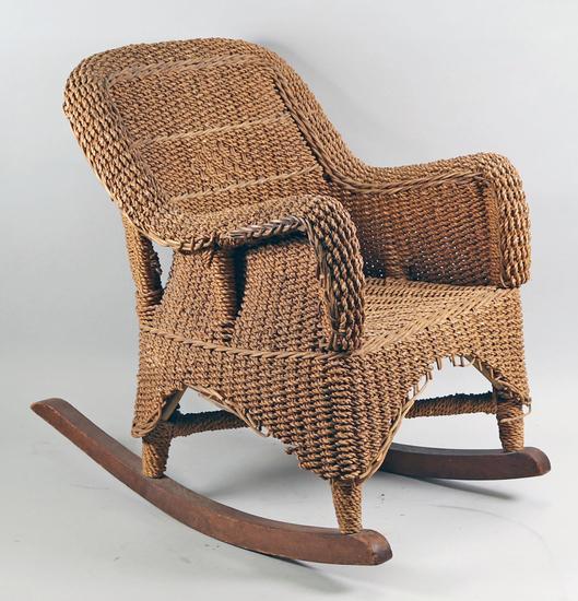Antique Wicker Children's Rocking Chair