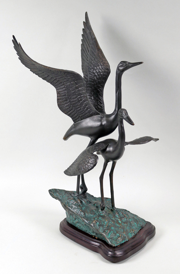 Bronze Cranes on Wood Base