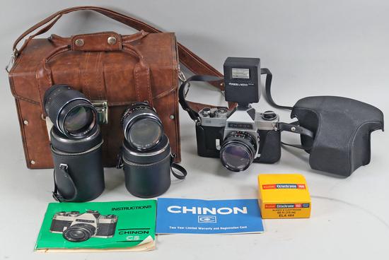 Chinon CS 35mm SLR Film Camera w/ Accessories