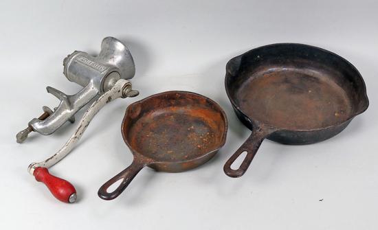 Cast Iron Pans & Meat Grinder