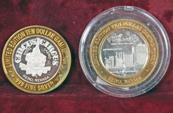 .999 Silver Gaming Tokens - Atlantis & Circus Circus  Casinos