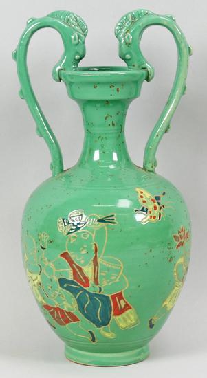 Chinese Green Glazed Porcelain Vase w/Dragon Handles