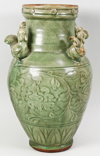 Chinese Green Porcelain Vase w/Four Chicken Accents