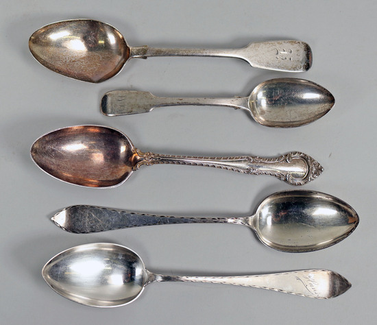 Silver Spoons: Norway, Gorham, English Silver - 255.4 Grams Total Weight