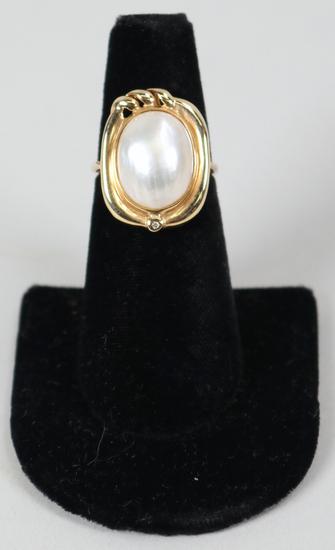 14K Pearl Ring, Sz. 7.5 - 5.4 Grams