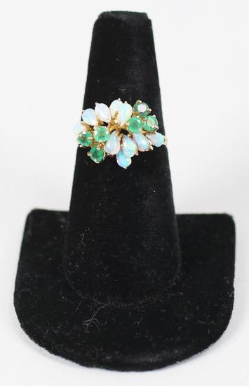 14K Ring w/Opal & Green Gemstones, Sz. 8.5 - 3.6 Grams