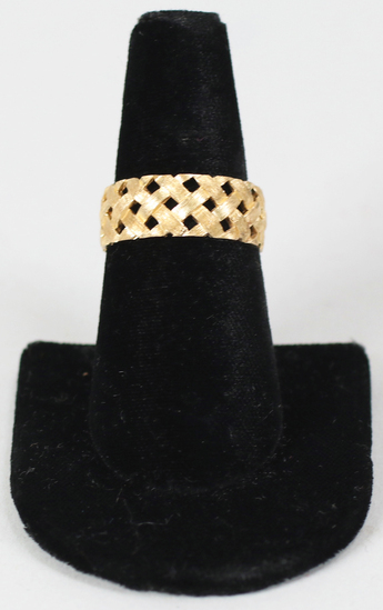 14K Basket Weave Ring, Sz. 9.5 - 5.6 Grams