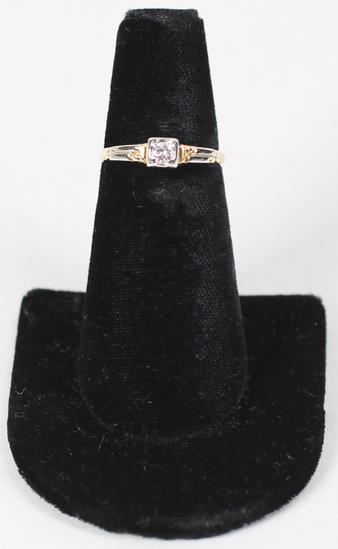 14K Ring w/Small Diamond, Sz. 7 - 1.6 Grams