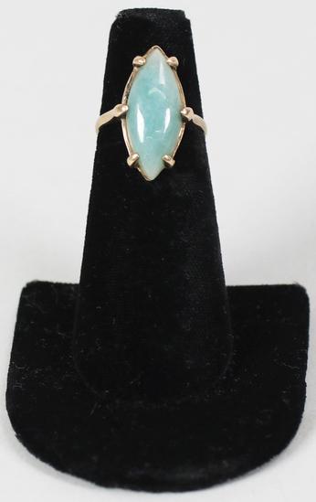 14K Ring w/Powder Green Gemstone, Sz. 5.75 - 3.5 Grams