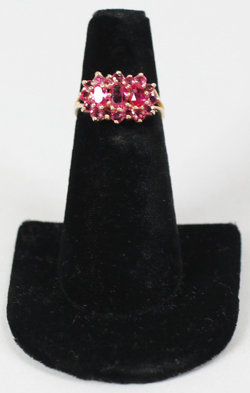14K Ring w/Dark Pink Colored Stones, Sz. 6.5 - 3.5 Grams