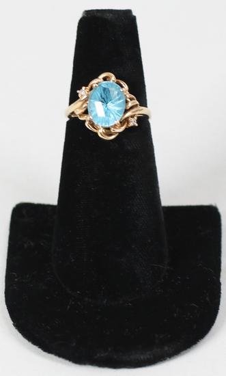 14K Ring w/ Blue Gemstone, Sz. 6.75 - 3.9 Grams