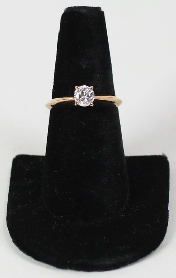 10K Gold Ring w/CZ Stone, Sz. 8.75 - 2.8 Grams