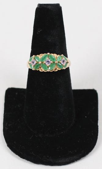10K Ring w/Green & Light Purple Stones, Sz. 9.25 - 3.6 Grams