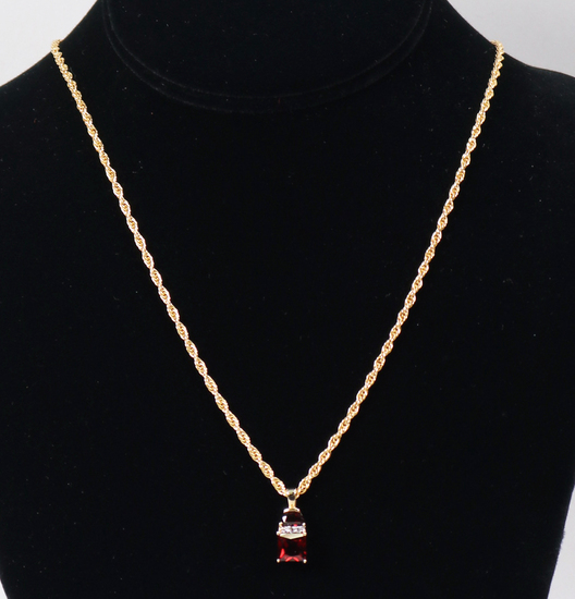 14K Gold Ruby Colored Pendant on .925 Chain