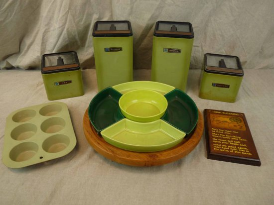 Avocado Green Kitchen Canisters & Serving Plate | Auctions ...