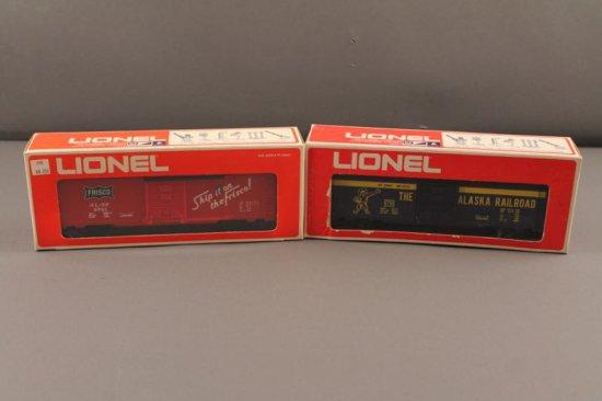 6-9751 LIONEL FRISCO BOX CAR, 1975-76, NEW IN BOX; 6-9758 LIONEL  ALASKA RA