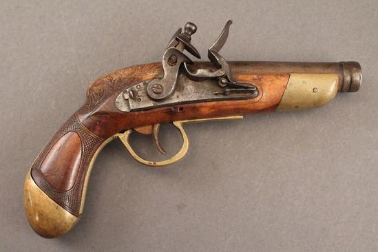 antique BARNETT, FLINTLOCK MODEL, 50CAL, SINGLE SHOT FLINTOCK PISTOL