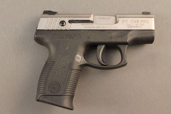 handgun TAURUS PT745 PRO MILLENNIUM, 45CAL SEMI-AUTO PISTOL, S#NAU92245