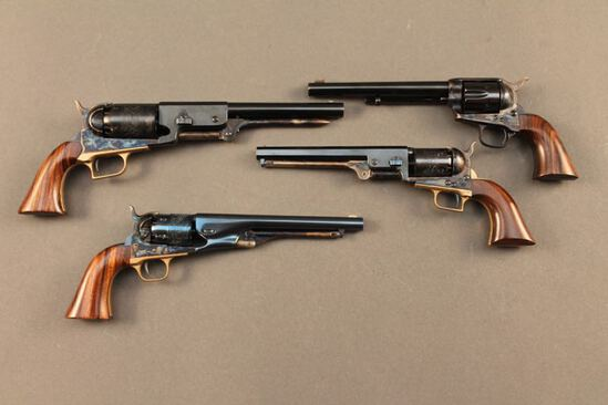 handgun SET OF 4 COLT MINIATURES OF THE COLT 51 NAVY, 1860 ARMY, WALKER AND SA ARMY
