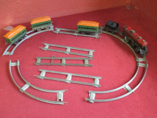 Marx Joy Line Windup Train w/Track & 3 Coach Cars