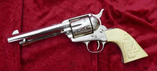 Colt Single Action Army Engraved Nickel Revolver