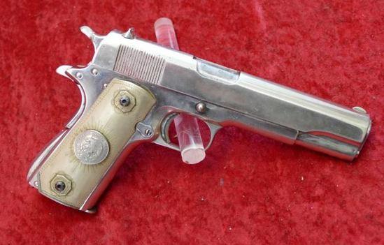 Nickel Finish Mexican Colt 1911 45 Pistol