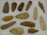 Grouping of 13 Arrowheads & Stone Celts