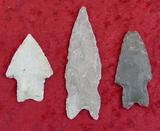 3 Texas Found Arrowheads (Paleo)