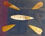 Framed Display of 5 Large Stone Spear Heads