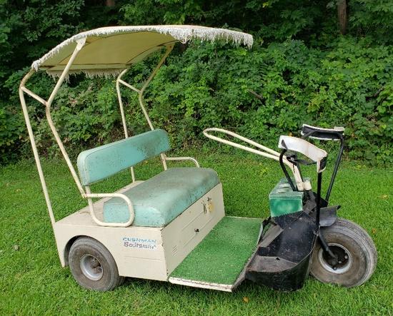 Early Cushman 3 Wheeled Gas Golf Cart