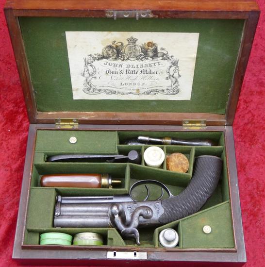 Fine Cased John Blissett O/U Perc. Pistol