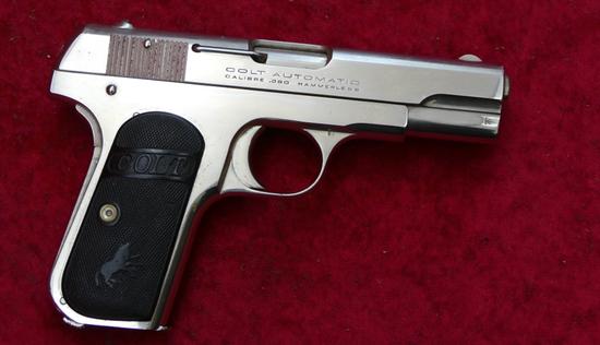 Fine Nickel Colt Model 1908 380 cal. Pistol