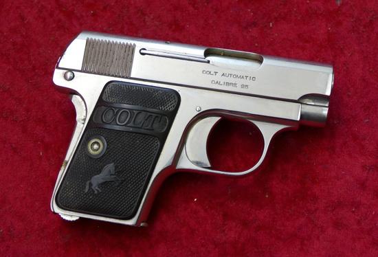 Colt Nickel Finished 25 ACP Pocket Pistol