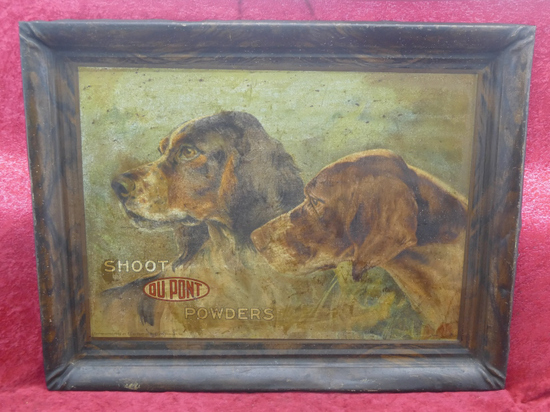 Rare Tin DuPont Hunting Dog Advertising