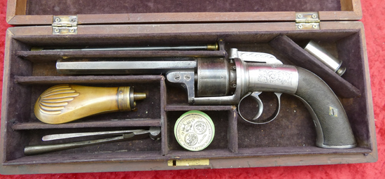 Cased English VEISEY & Son Perc. Revolver