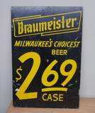 Braumeister Milwaukee's Choicest Wood Beer Sign